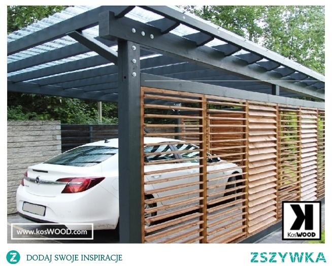 Wiata samochodowa z regulowanymi ścianami. Wykonana z drewna DSH projekt na wymiar z szklanym dachem oraz aluminiowa
