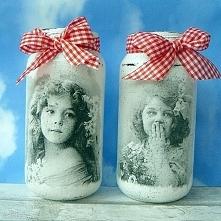 Dziewczynki - Vintage. Dekoracyjne słoiczki.