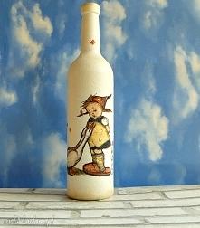Szklana butelka Dziewczynka z gąskami.