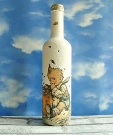 Butelka ręcznie malowana Chłopczyk z garnkiem miodu
