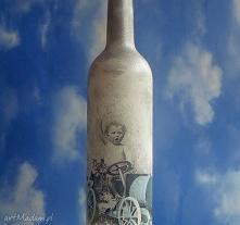 Vintage. Retro. Butelka malowana ręcznie.