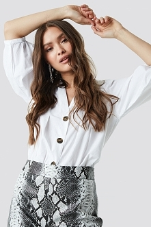 NA-KD Trend Puff Sleeve Button Up Blouse - White