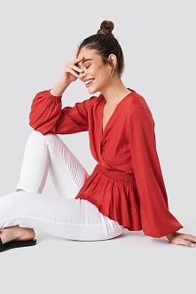 NA-KD Boho Bluzka z bufiastym rękawem - Red