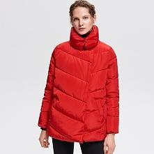 Pikowana kurtka ze stójką - Czerwony