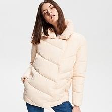 Pikowana kurtka ze stójką - Kremowy