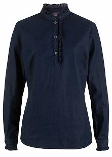 Tunika dżinsowa  z falbanami, długi rękaw bonprix ciemnoniebieski