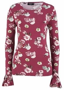 Shirt ze stretchem, z długim rękawem i kwiatowym nadrukiem bonprix czerwony r...