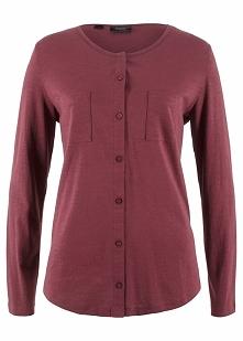 Shirt bawełniany z przędzy mieszankowej, długi rękaw bonprix czerwony klonowy