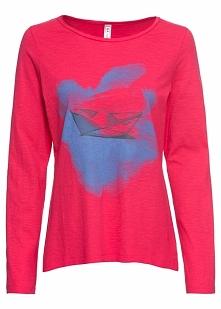 Shirt z nadrukiem bonprix różowy hibiskus z nadrukiem