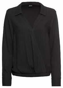 Bluzka kopertowa bonprix czarny
