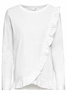 Shirt z falbankami bonprix biel wełny