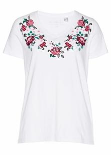 T-shirt w kwiaty bonprix biały-magenta-nocny oliwkowy