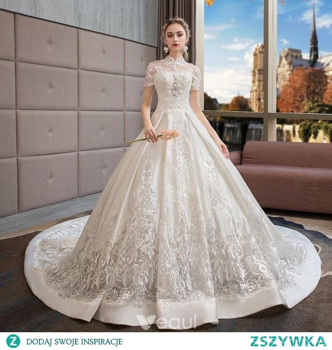 06a0b25075 Oszałamiający Kość Słoniowa Suknie Ślubne 2019 Suknia Balowa Wy.. na ...