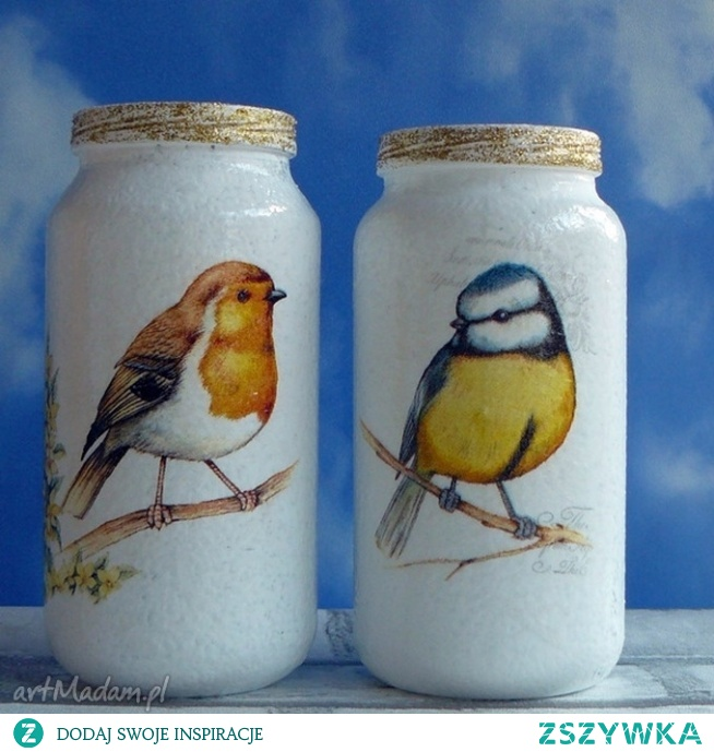 Ptaki. Dekoracja. Komplet ręcznie malowanych słoiczków.