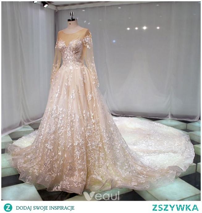 Elegancka Szampan Przezroczyste Suknie Ślubne 2019 Princessa Wycięciem Długie Rękawy Aplikacje Z Koronki Trenem Katedra Wzburzyć