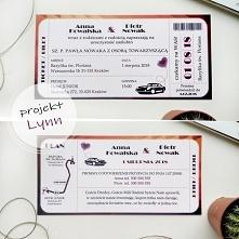 Zaproszenie w formie biletu z samochodem