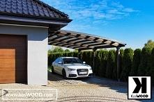 Nowoczesna wiata garażowa wykonana z drewna klejonego odpornego na warunki at...