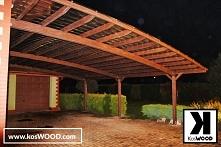 Wiata garażowa przyścienna wykonana z drewna klejonego odpornego na warunki a...