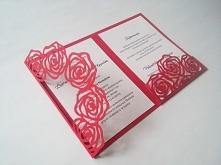 Ażurowe zaproszenie ślubne z różami