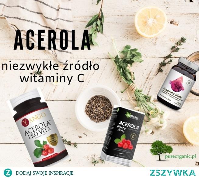 Acerola – niezwykłe źródło witaminy C. Skutecznie wspomaga odporność organizmu Oryginalne połączenie 4 ekstraktów roślinnych o silnym działaniu 300% zapotrzebowania na witaminę C w dawce dziennej Bez dodatków i wypełniaczy Kapsułki roślinne, delikatne dla żołądka, przyjazne wegetarianom i weganom...  #acerola, #kolagen, #pureorganic, #witaminac, #witaminy, #zdrowie