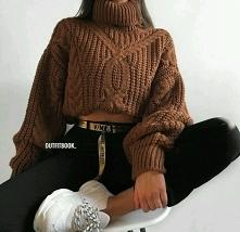 Zimowa stylizacja z brązowy...