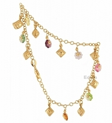 Bransoletka złota z kolorowymi kryształkami pr.585