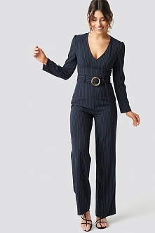 Milena Karl x NA-KD Pinstriped Flared Jumpsuit - Blue