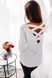 Bluzka z ozdobnym tyłem w kolorze białym