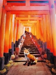 Jeden z rysunków inspirowanych moim pobytem w Kioto: Zenko- lisi strażnik ze ...