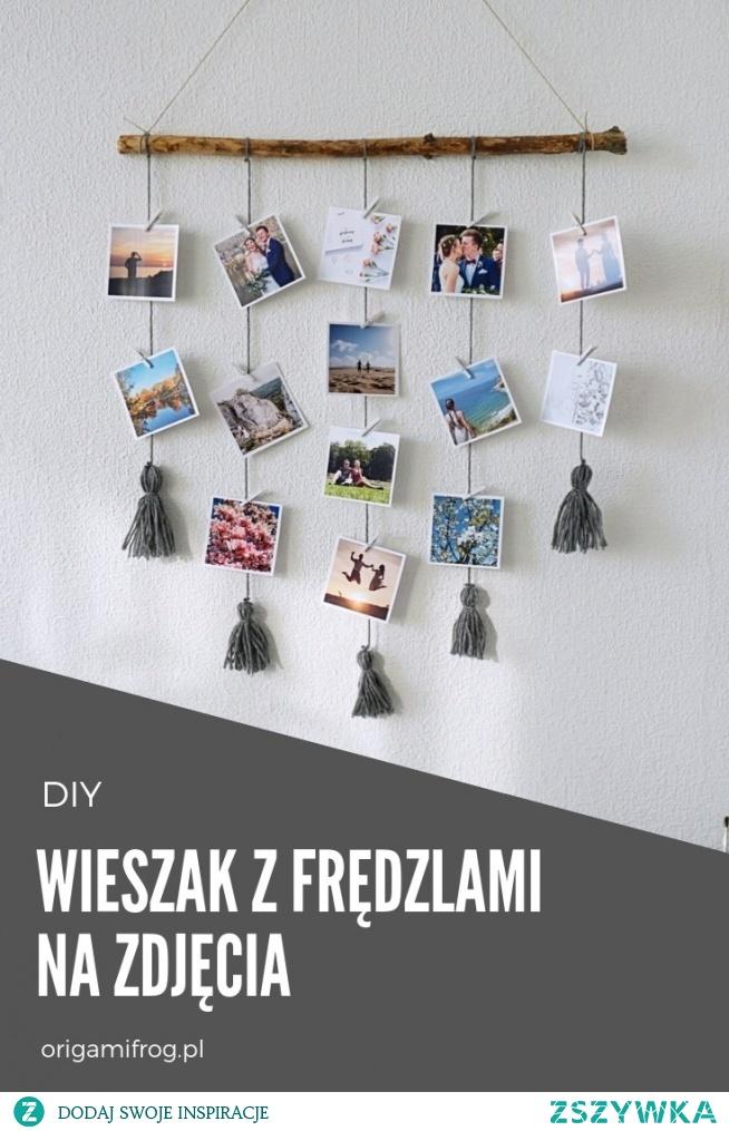 DIY Wieszak z frędzlami na zdjęcia • origamifrog.pl