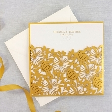 Zaproszenie Złote Kwiaty Pocket w Folderze
