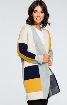 BE BK011/2 sweter kolorowy Oryginalny kolorowy kardigan damski, ciepły i przyjemny w noszeniu, prosty i niezapinany fason, zdecydowanie ten kardigan doda nowego wyglądu Twojej c...