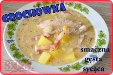 Zupa grochowa z suszonym grochem, gotowana na wieprzowych żeberkach - bardzo smaczna i treściwa!;)