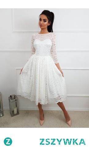 Nowość! ślubna sukienka midi. Cała z koronki cudo! Zapraszamy do nas.