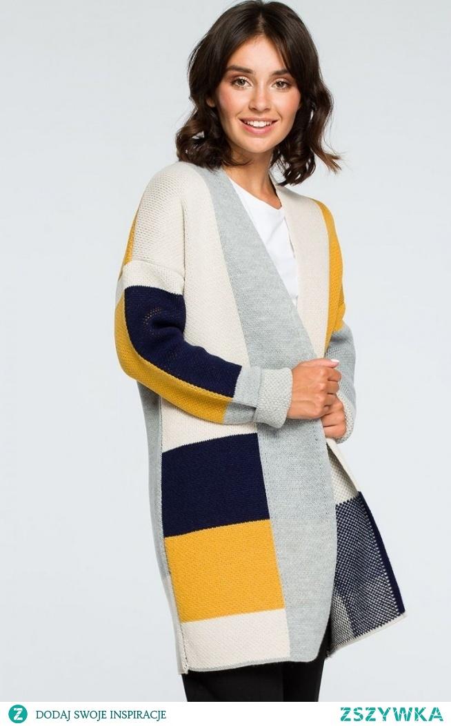 BE BK011/2 sweter kolorowy Oryginalny kolorowy kardigan damski, ciepły i przyjemny w noszeniu, prosty i niezapinany fason, zdecydowanie ten kardigan doda nowego wyglądu Twojej codziennej stylizacji