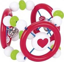 Grzechotka drewniana Piłka  do zabawy dla dzieci, pierścienie dotykowe 8 cm uniw