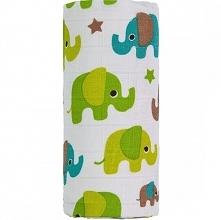 T-Tomi Bambusowy Ręcznik Kąpielowy Bio, Zielone Słonie