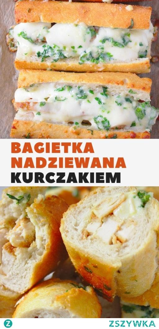 Bagietka nadziewana smażonym kurczakiem i serem mozzarella.