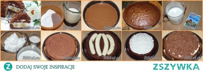 """Tort """"Norka kreta""""  Ciasto: mąka - 200 g mleko - 160 ml cukier - 100 g jajko - 2 szt  olej  - 80 ml kakao - 40 g; proszek do pieczenia - 2 łyżeczki  Na suflet: twaróg - 300 g mleko - 250 ml cukier - 100 g żelatyna - 10 g banany - 4-5 szt         Wymieszaj mąkę z proszkiem do pieczenia i kakao. Ubij jajka cukrem, a następnie dodaj mleko i olej , znów dobrze ubij. Połącz mąkę z ubitymi jajkami, wymieszaj wszystko łyżką. Wlej ciasto do formy natłuszczonej. Postaw formę w rozgrzanym piekarniku. Piec ciasto w temperaturze 180 stopni przez około 35-40 minut. Gotowość sprawdzaj za pomocą wykałaczki.        Suflet sera: zalej żelatynę mlekiem i zostaw przez 30 minut aż napęcznieje. Następnie postaw na palniku i podgrzewaj aż żelatyna się całkowicie rozpuści (nie gotuj!). Utrzej twaróg z cukrem, a następnie wlej cienki strumień rozpuszczonej żelatyny. Wszystko dobrze ubij.        Upiecziny biszkopt pozostaw do schłodzenia. Wytnij delikatnie środek ciasta, tak by pozostał spód i boki biszkoptu. Na dno wyciętego tortu połóż banany, a na nie wlej mieszankę z twarogu. Na wierzch wsyp pokruszone, z wydrążenia ciasto i delikatnie docisnij. Włóż ciasto do lodówki na noc.        Tort ładnie się prezentuje w przekroju."""
