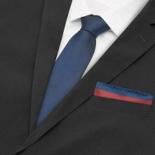Zestaw krawat i poszetka - Granatowy