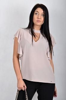 Bluzka Gaudi z chokerem różowa to idealne rozwiązanie zarówno na eleganckie w...