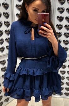 Lola Fashion Spanish granatowa Przepiękna sukienka typu oversize wykonana zos...