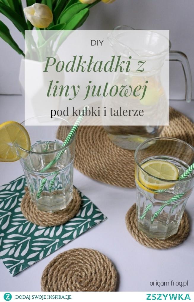 DIY Podkładki z liny jutowej pod kubki i talerze • origamifrog.pl