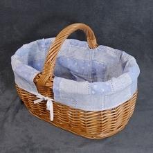 Koszyk wiklinowy z materiał...