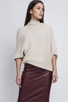 Sweter oversize, SWE049 beż MKM