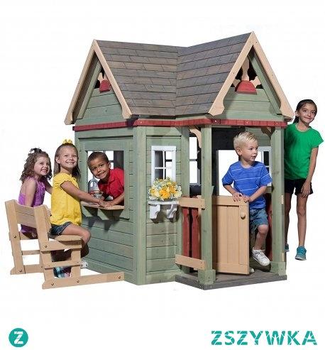 Domek dla dzieci ogrodowy Victorian Inn. Wykonany w całości z drewna cedrowego. Domki dla dzieci Backyard Discovery.