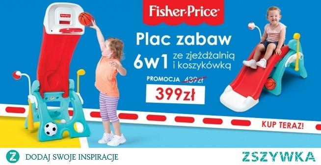 Zabawka ogrodowa Fisher-Price 6 w 1 kosztuje teraz tylko 399 zł! Łączy funkcje koszykówki, zjeżdżalni, piłki nożnej, oraz innych zabaw w jedno, nieduże urządzenie. Kup teraz!