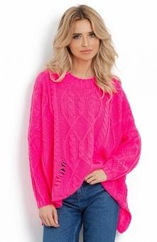 Efektowny sweter damski z n...