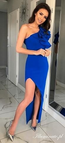Kobaltowa sukienka na wesel...