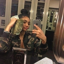 girl, dope, black, skin, money, dollars, green, selfie